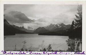NICE 1950 RPPC Maligne Lake Queen Elizabeth Range Alberta CA Real Photo Postcard