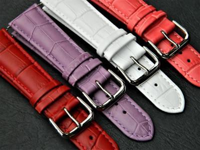 Watch Strap For Ladies 12mm-22mm Genuine Calf Leather Embossed Alligator Pattern