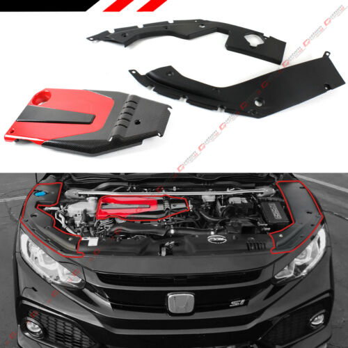 FOR 2016-18 HONDA CIVIC JDM RED BLK TYPE-R STYLE ENGINE COVER SIDE PANEL COVER