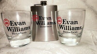 Evan Williams Gift Set 2 Bourbon GLASSES 8 oz Flask Bar Decorations