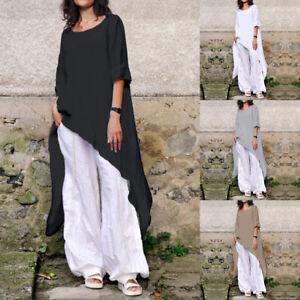 100-Cotton-Women-Plus-Size-Tunic-Top-Long-Sleeve-Asymmetric-Loose-T-Shirt-Blouse