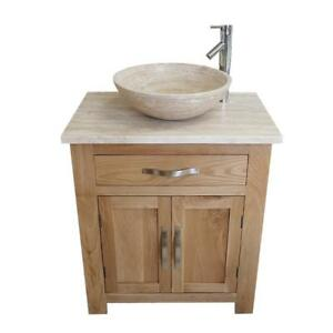 Groovy Details About Solid Oak Bathroom Vanity Cabinet Sink Bathroom Unit Travertine Worktop Home Remodeling Inspirations Genioncuboardxyz