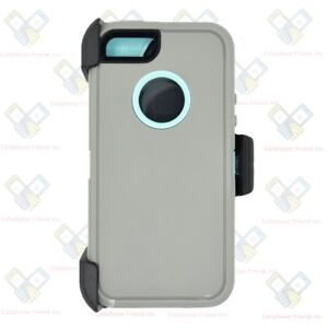 official photos 8919c 3ad29 Details about Gray Teal iPhone 5S / SE Defender Case w/ Belt Holster Clip  fits Otterbox