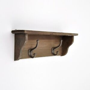 Brown Wooden Wall Mounted Shelf With Two Metal Hooks Coat Rack Wall