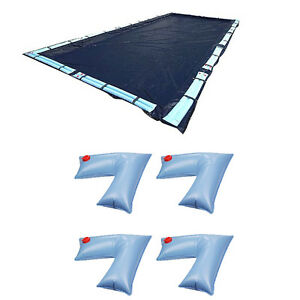 Details about Swimline 20x40 Ft Winter Pool Cover + 4-Pack of Corner Water  Tube Cover Weights