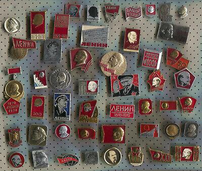 LOT of 50 pcs USSR SOVIET ERA VINTAGE ENAMEL PINS BADGES COLD WAR COMMUNISM CCCP