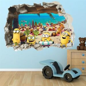 Details About 3d Wall Sticker Cute Yellow Minions On The Beach Kids Room Decoration 50x70 Cm