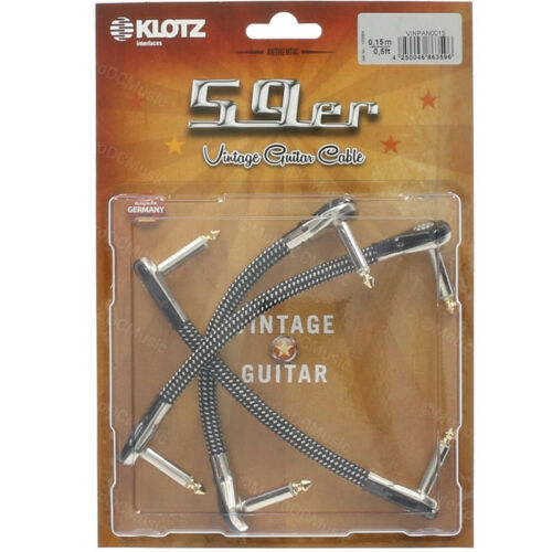 """3-Pack KLOTZ 59er 6/"""" Vintage Pancake Pro Patch Cable Cord Pedal 1//4/"""" Right-Angle"""