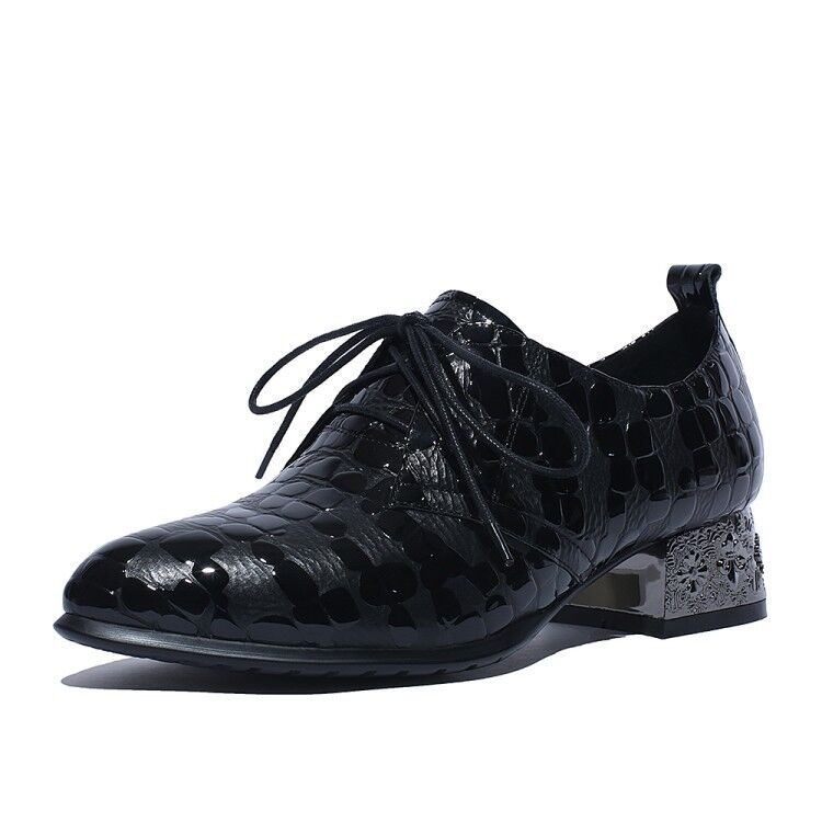 Fashion Donna Embossing Pointy Toe Lace Up Block Low Heels Pelle Oxfords Scarpe