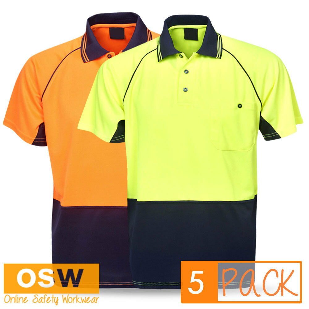 5 X HI VIS UNISEX WORK POLO COOL DRY RAGLAN SLEEVE TRADIES UNIFORM POLO SHIRTS