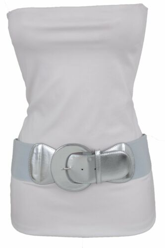 Women Metallic Silver Wide Faux Leather Elastic Band Belt Round Buckle XS S M