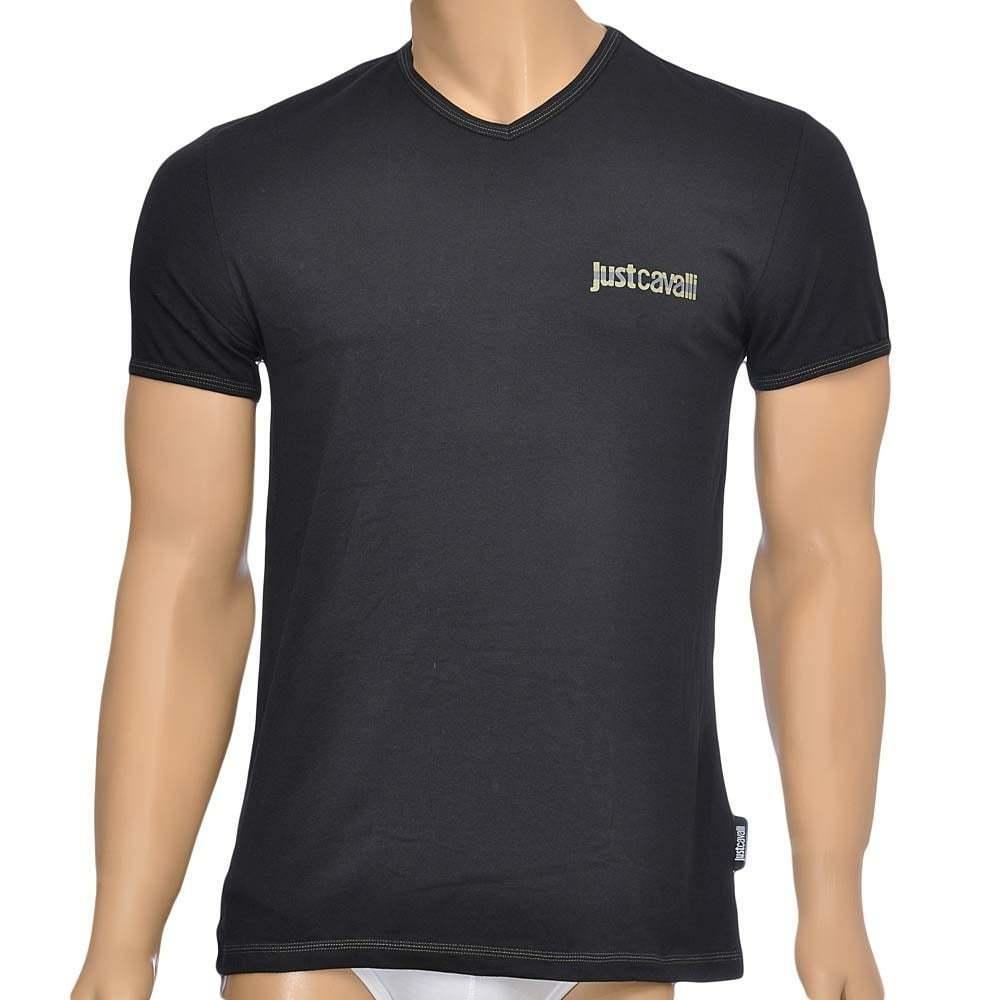 Just cavalli sous-vêtement homme coton coton homme stretch s s t-shirt col v,  noir vee tee 2071ef 3deb06e0289c