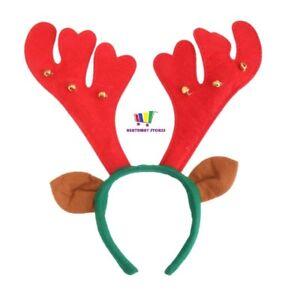 REINDEER-HEADBAND-WITH-BELLS-ANTLERS-FANCY-DRESS-EARS-CHRISTMAS-ONE-SIZE-NEW-FUN