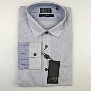 PAL-ZILERI-LAB-Slim-Fit-Blue-Stripe-Slim-Fit-Mens-Dress-Shirt-Size-17-75