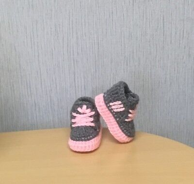 HANDMADE CROCHET BABY FIRST SHOES TRAINERS WOOL CASUAL BOOTS SLIPPERS UNISEX