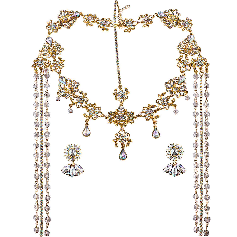Bridal Headband and Earrings Crystal Jewelry Set Wedding Headpiece for Women