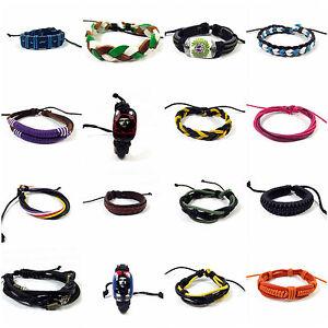 Mens-Ladies-Leather-Bracelets-Wrap-Jewellery-Wristband-friendship-Bangle-Charm