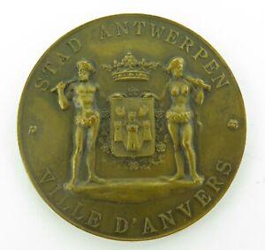 LARGE-1900-1950-ANTWERP-BELGIUM-BRONZE-COMMEMORATIVE-MEDAL