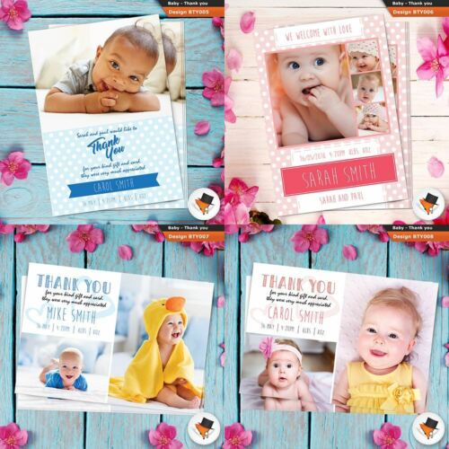Personalised Baby Boy Birth Announcements Thank You PHOTO Cards Packs of 1 200