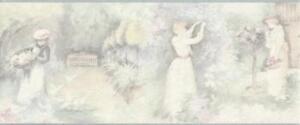 Wallpaper-Border-Pastel-Painterly-Victorian-Ladies-in-the-Garden-Pink-Green-Blue
