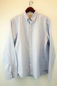 J-Crew-Mens-XL-Slim-Fit-Cotton-Blue-White-Pin-Stripe-Oxford-Button-Down-Shirt