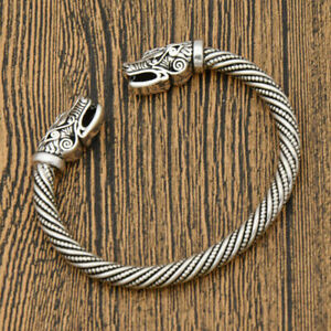 Vintage-Viking-Norse-Wolf-Head-Open-Bracelet-Bangle-Wristband-Jewelry-Beads-Gift