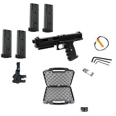 Tippmann TiPX Deluxe Paintball Pistol Kit Gun TPX 4 Clips Hard Case Leg Holster