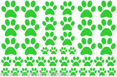 LIME GREEN PAW PRINTS-2 sheets total 44 pieces VINYL WALL DECAL STICKER DOG CAT