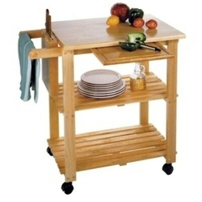 Kitchen Island Rolling Cart Real Wood With Cutting Board Knife Block