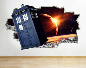 Charming Image Is Loading H990 Doctor Who Tardis Space TV Smashed Wall