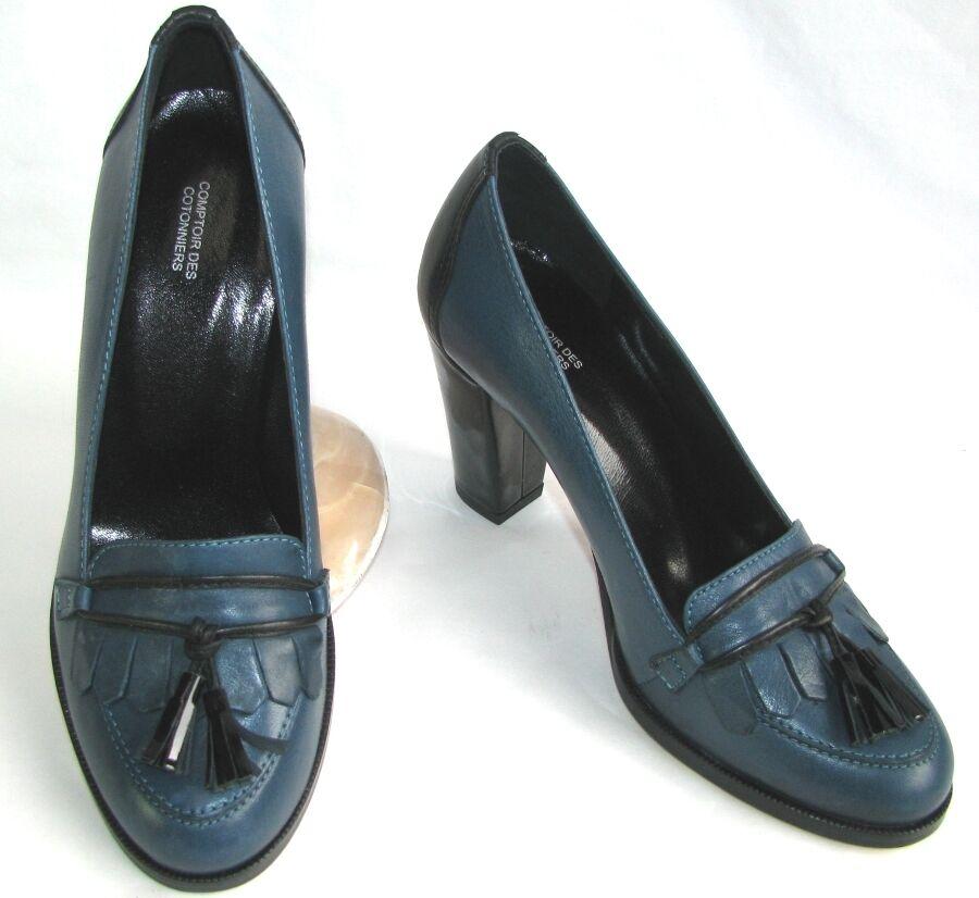 COMPTOIR DES COTONNIERS - MOCASSINS TALONS 8 CM CUIR CUIR CUIR blue & black 36 NEUF BOITE 3792e5