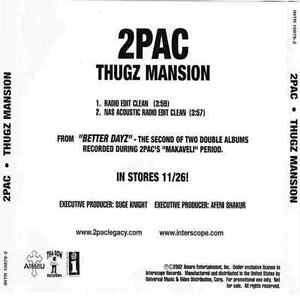 2pac Thugz Mansion Promo Cd Single 2002 2 Tracks Intr 10879 2 Excellent Ebay