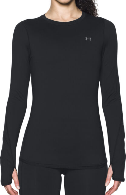 Under Armour UA ColdGear Ladies Ivory White Crew Fitted Long Sleeved Running Top