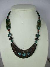 extravagant altes Collier Halskette Türkis Koralle Calcit Handarbeit Tibet ~1960