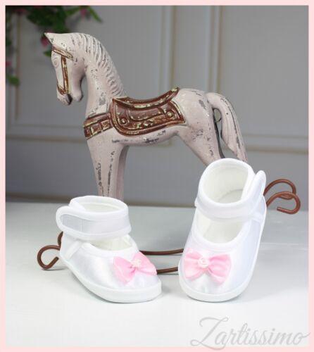 Taufschuhe zum Taufkleid Babyschuhe Ballerina weiß-rosa SCHLEIFE 17,18,19,20 NEU
