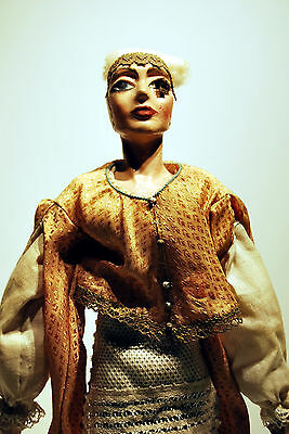 Bambola Artigianale Art Testa Mani Gesso A Restauro Ht 36,5cm