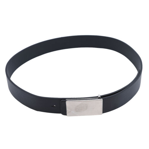 White Black Luxury Simple Smooth Faux Leather Alloy Snap Belt Men Leather Belts