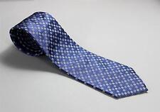 "Chanel Paris New Blue Square White Geometric Logo Pattern 100% Silk Tie 3 3/8"""