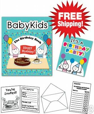 1 Fun Book Ages 1,2,3 Birthday Baby//Toddler Set  10 Invitations//10 Envelopes
