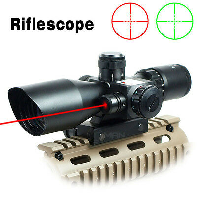 Rifle Scope Red Dot Tactical 2.5-10x40 Red Laser Dual Illuminated Mil-dot w/Rail