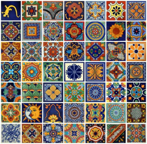 """100 Mexican Talavera Hand Painted Ceramic Tiles  4/""""  Assorted 50 Design"""