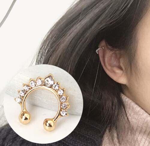 Fashion Women's Crystal Clip Ear Cuff Stud Punk Wrap Cartilage Crown Earrings AU