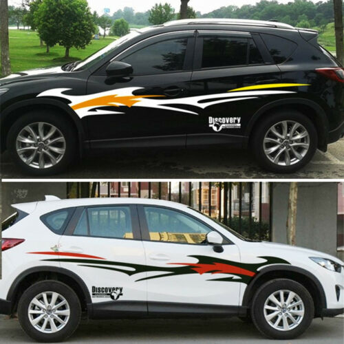 2X Car Truck SUV Body Sides Decal Stickers Flame Pattern Sports Styling Glossy
