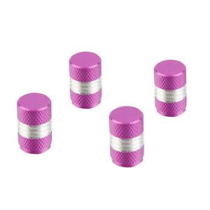 Lot-de-4-bouchons-de-valve-en-aluminium-Argent-Violet-Auto-Moto-Velo