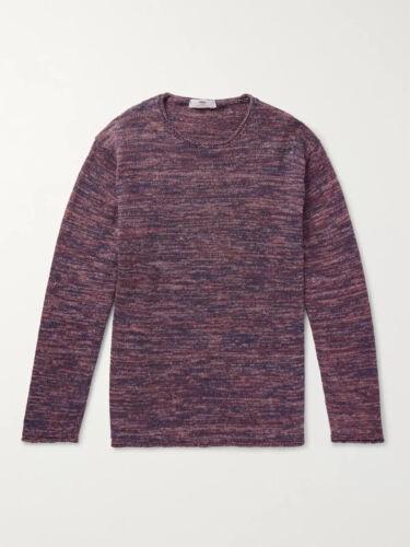 Inis Meain Melange Sweater Linen Purple Rolled Edg