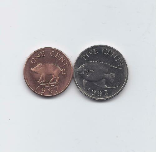 BERMUDA 1997 2 COINS UNCIRCULATED FAUNA SET 1 /& 5 CENTS WITH FISH /& PIG