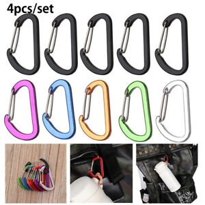 4Pcs Carabiner Keychain Wiregate Clips Hook Survival Camping Outdoor Tool