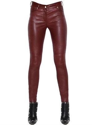 New Women Leather Pants Genuine Lambskin Leather Skinny Ladies Pants XS-2XL W11