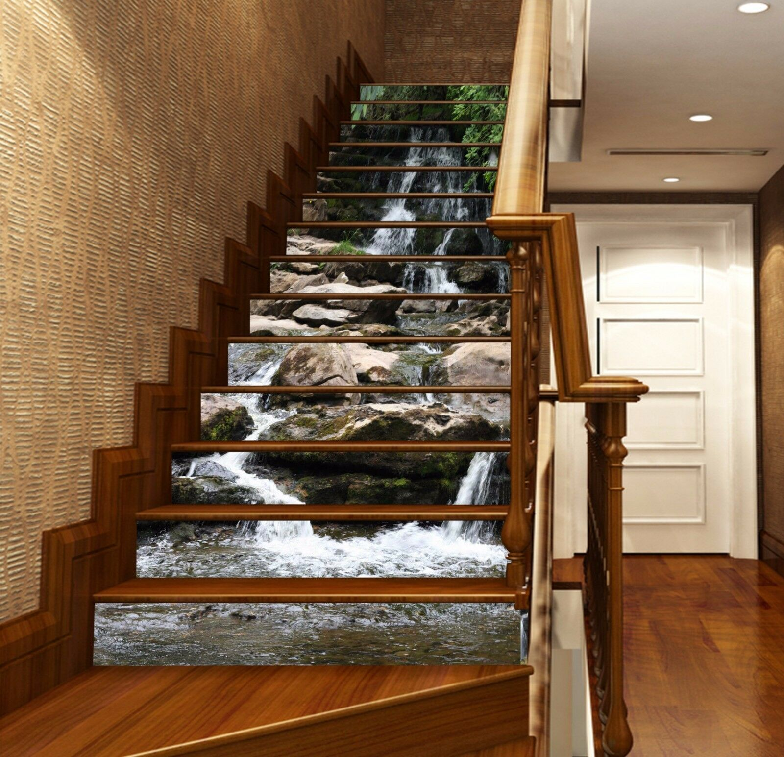 Creek flows 230 stairs risers photo mural vinyl decal wallpaper us decoration 3d ooikle3844 decals stickers vinyl art