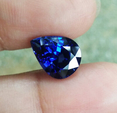 0.591 Carat violetish Blue Sapphire Good Cut Pear 6.08 x 4.18 mm Calibrated Heated Loose Stone